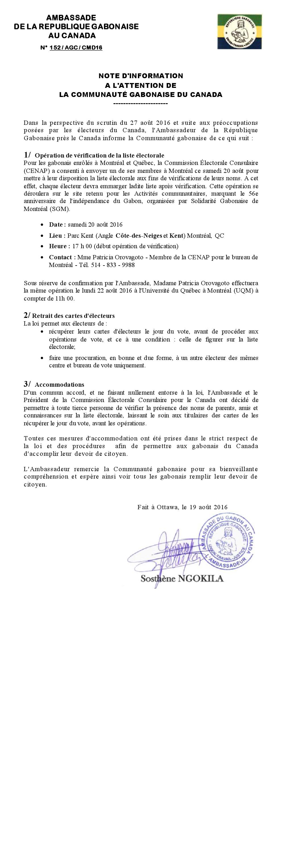 Ambassade du Gabon au Canada - Élections présidentielles 2016 - Accomodations Scrutin 2016